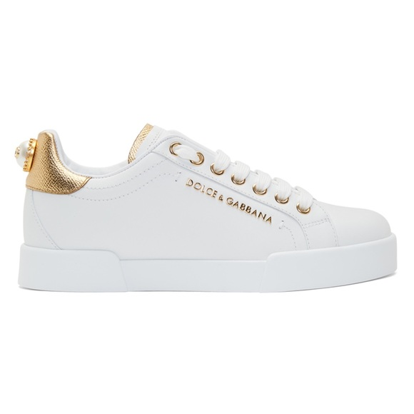 Dolce Gabbana White Gold Pearl Sneakers